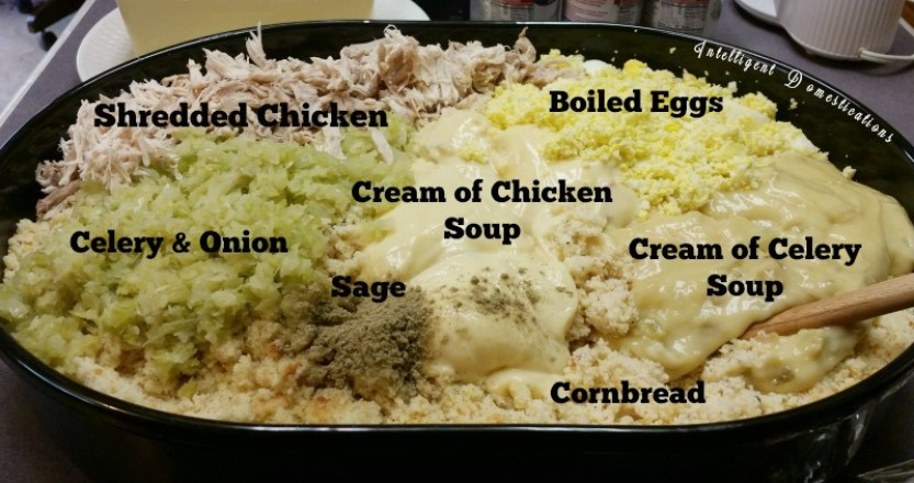 Ingredients pictured and labeled for southern cornbread dressing
