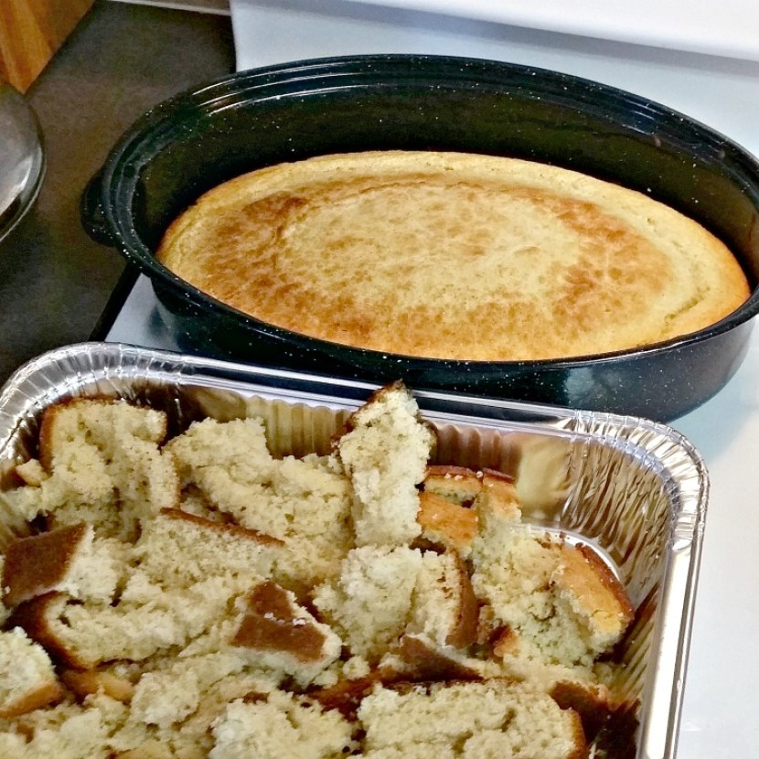 large pans of cornbread cooked and broken up
