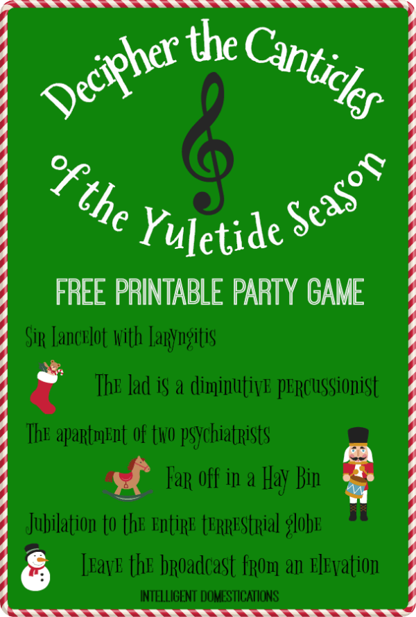 Decipher The Canticles of the Yuletide Season Party Game free printable. #Christmas #partygames #familyfriendlygames #printable #christmasparty