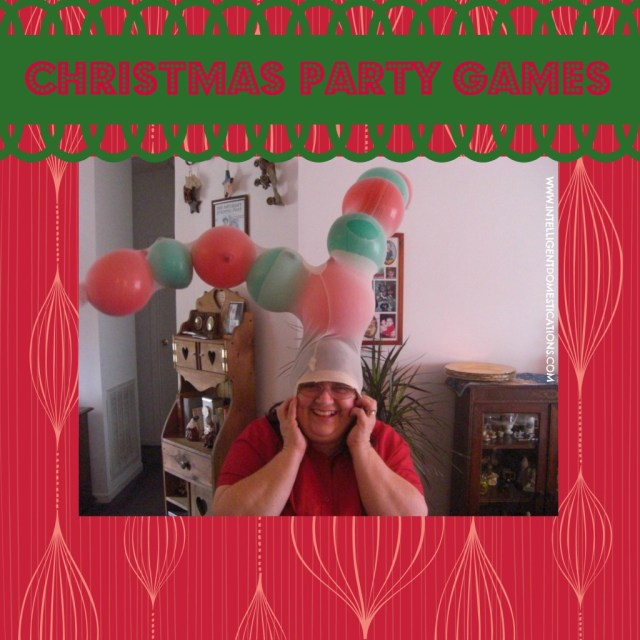 A winner in the Reindeer Antler Game wearing balloon filled stockings on her head