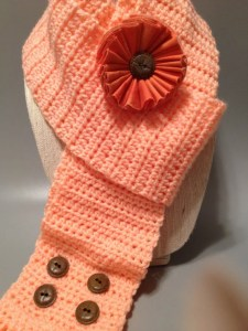 Peach scarf with Vintage Buttons