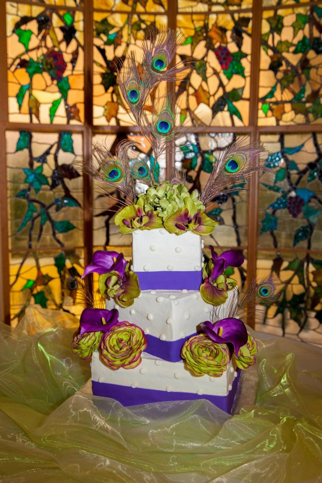 Cake in stained glass window alcove Hay House Macon, GA.