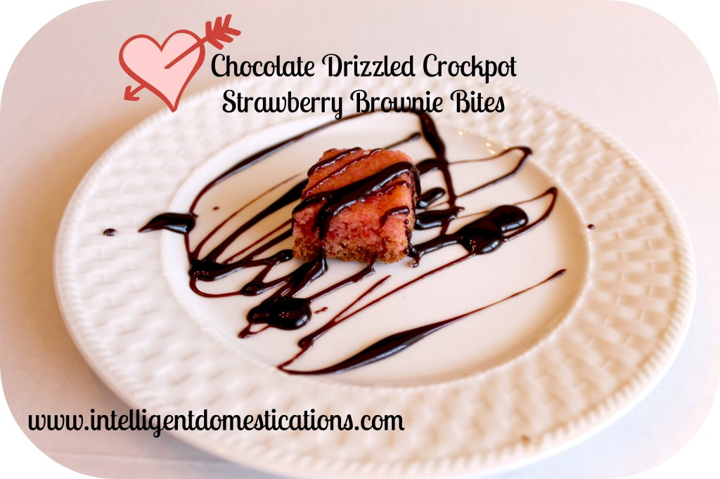 Chocolate Drizzled Crockpot Strawberry Brownie Bites. Intelligent Domestications