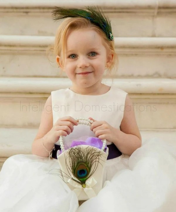 Peacock theme wedding ideas. Peacock hair piece. Flower girl peacock feather hair piece.