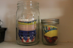 Mason jars with cup cake papers