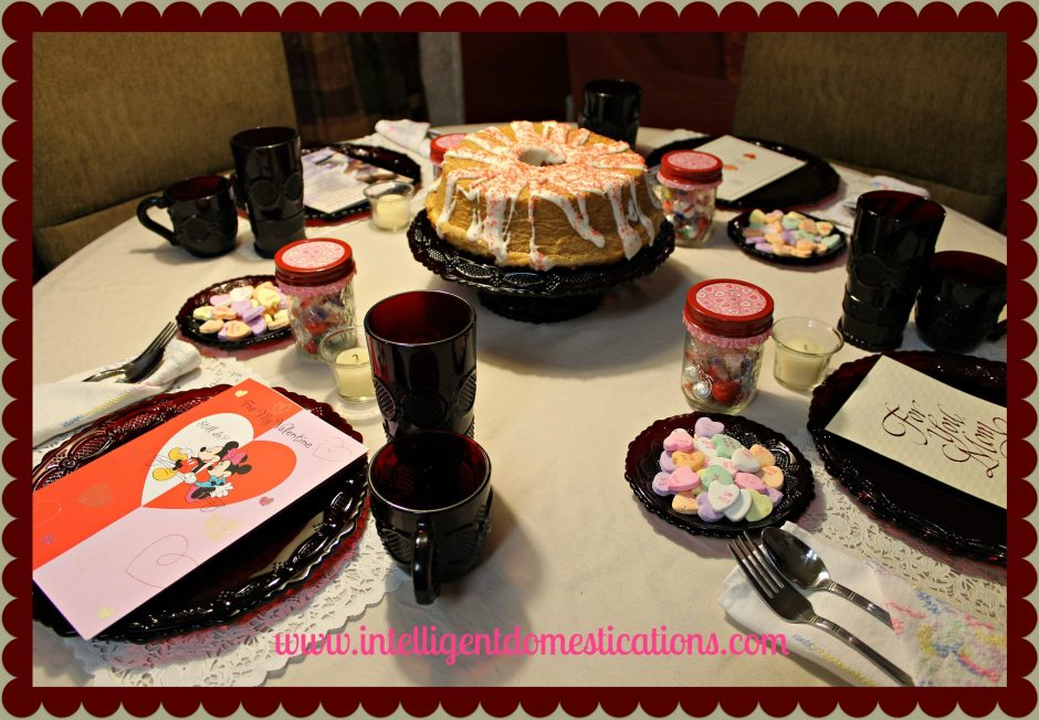 Use what you have to create a fun Valentines Tablescape for your family. Old Valentines cards can be fun to re-read at a Valentines dinner at home.
