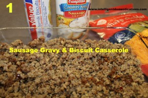 Sausage Gravy and biscuit casserole ingredients