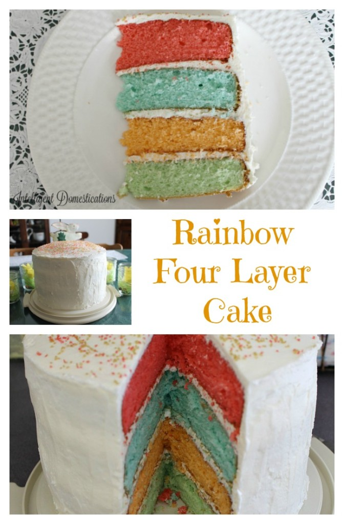 Rainbow Four Layer Cake is perfect for any celebration. All four layers are a different flavor. If you're looking to Wow your guest, this will do it..intelligentdomestications.com