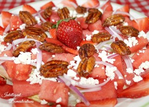 Sweet and Salty Strawberry Watermelon Salad recipe