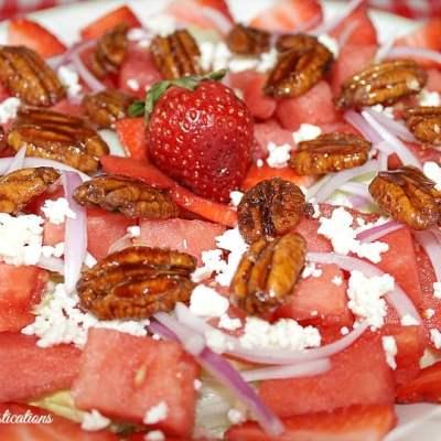 Sweet & Salty Strawberry Watermelon Salad