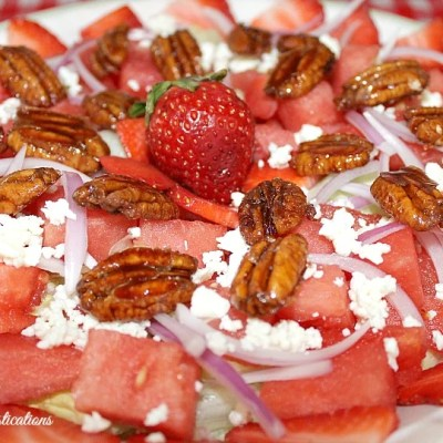 Sweet & Salty Strawberry Watermelon Salad