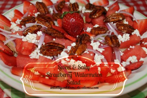 Sweet & Salty Strawberry Watermelon Salad by intelligentdomestications.com