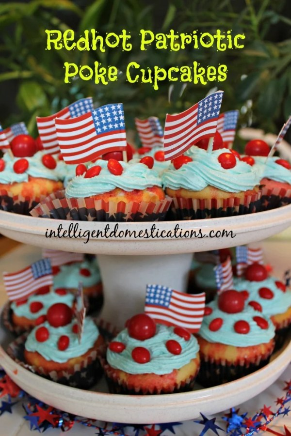Redhot Patriotic Poke Cupcakes. Red White and Blue Cupcakes. Patriotic cupcakes. Decorate your cupcakes for the 4th of July. #redwhiteandbluedessert #patrioticdessert #cupcakes #redhots #summerfood