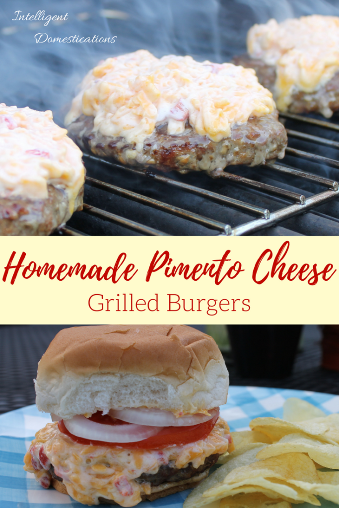 Homemade Pimento Cheese Burgers. Whip up an easy recipe of homemade pimento cheese and slather it on your burgers on the grill. It is a low carb meal if you skip the bun!