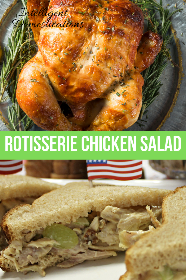 How to make homemade chicken salad using a Rotisserie chicken. A delicious chicken salad recipe using grocer deli rotisserie chicken with grapes and pecans. No mayo. We use honey mustard instead. #chickensalad #chickenrecipe #rotisseriechickenrecipe