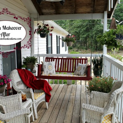 Front porch makeover ideas. Front porch makeover photos. Porch swing with pillows. Wicker chairs on a front porch