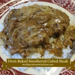Oven Baked Smothered Cubed Steak served on a bed of rice.Recipe and directions at intelligentdomestications.com