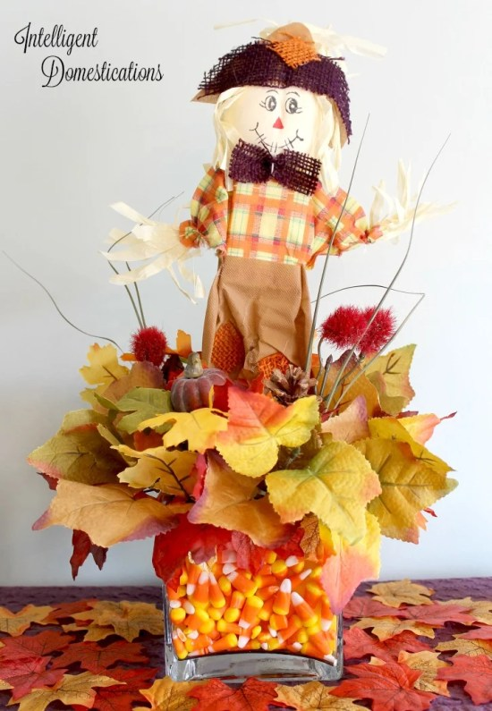 DIY Scarecrow Candy Corn Centerpiece. DIY Scarecrow Dollar Store Craft
