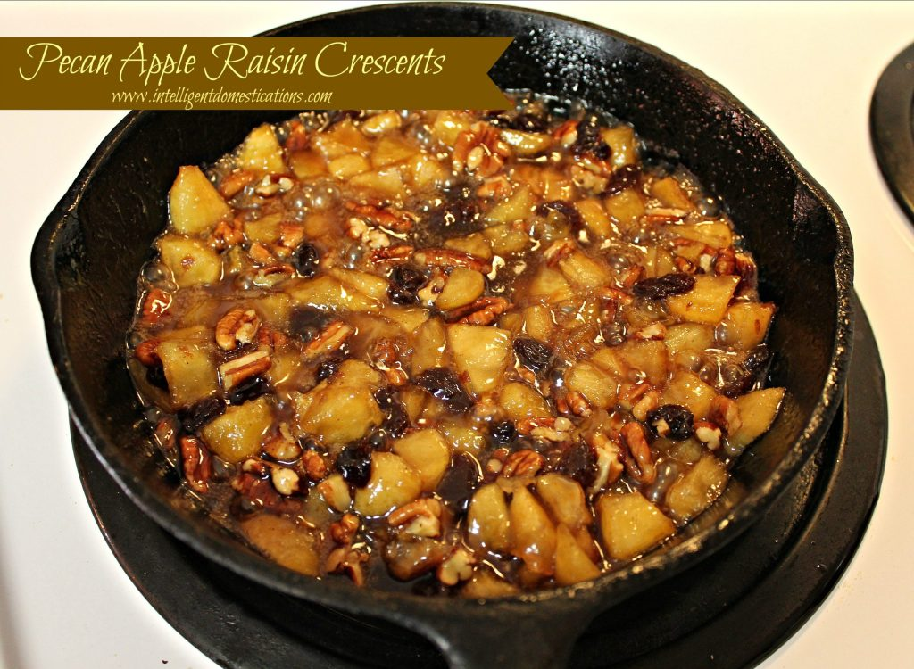 Cook the apples  along with the butter & brown sugar, and the raisins and pecans until the apples are tender.intelligentdomestications.com