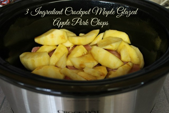 Crockpot Maple Glazed Apple Pork Chops easy recipe with only 3 simple ingredients. Three Ingredient Pork Chop recipe. We use fresh apples. Leave the skin on the apples for added fiber. This Crockpot recipes is ready in about 4 hours. #crockpotrecipe #porkchops #applerecipe #weeknightmeal