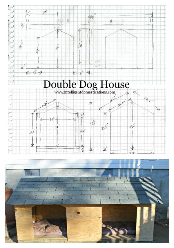 How to build a double door dog house. These are my husbands plans which he sketched out and how he built a double door dog house for our two male dogs. #doghouse #diy