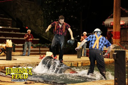 Visit the Lumberjack Feud Dinner Show in Pigeon Forge Tennessee for a night of good food, fun and laughter. You might even win a wood biscuit.