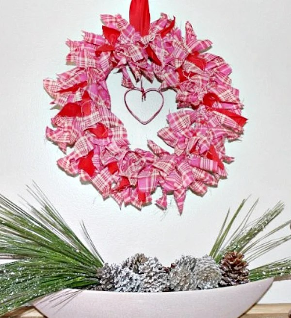Easy tutorial for making your own pretty Valentines decor using fabric scraps. Make a lovely and fun wreath for your front door on inside wall. How To Make A Valentine Rag Wreath. DIY Fabric scrap wreath easy project. #diywreath #wreath #Valentines