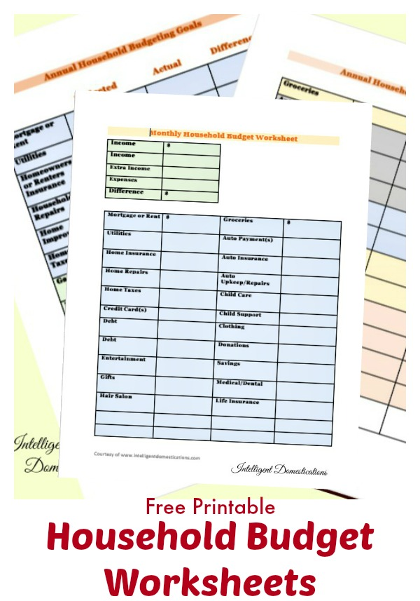 Household Budget Worksheets free printable