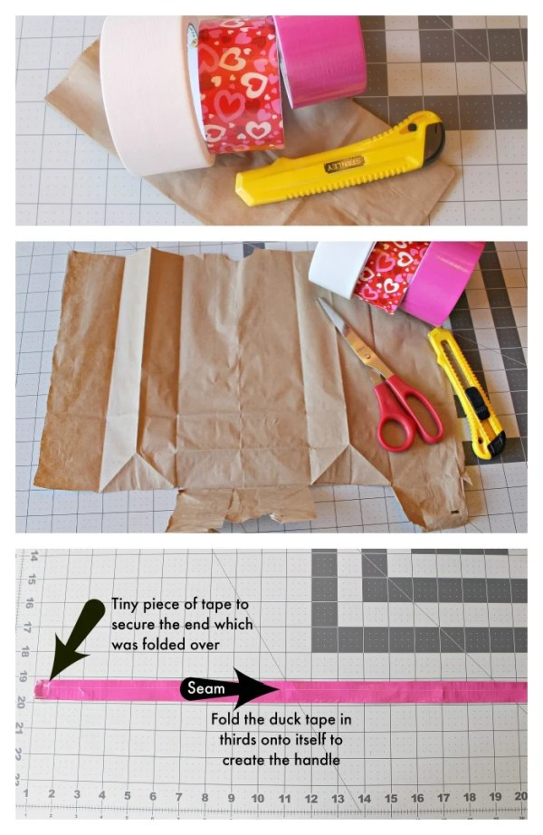 Valentines Duck Tape Lunch Bag. How to cover a brown paper lunch bag with Duck tape for a reusable lunch bag. #Ducktape #diy