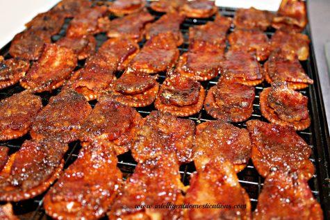 Glazed Bacon Pretzel Crackers fresh from the oven.intelligentdomestications.com