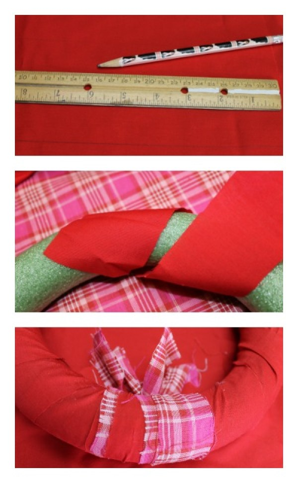 How To Make A Valentine Rag Wreath. DIY Fabric scrap wreath easy project. #diywreath #wreath #Valentines