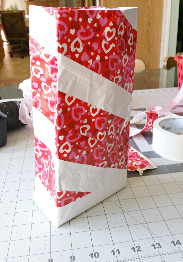 Valentine Lunch bag all Duck taped up and ready to decorate.intelligentdomestications.com