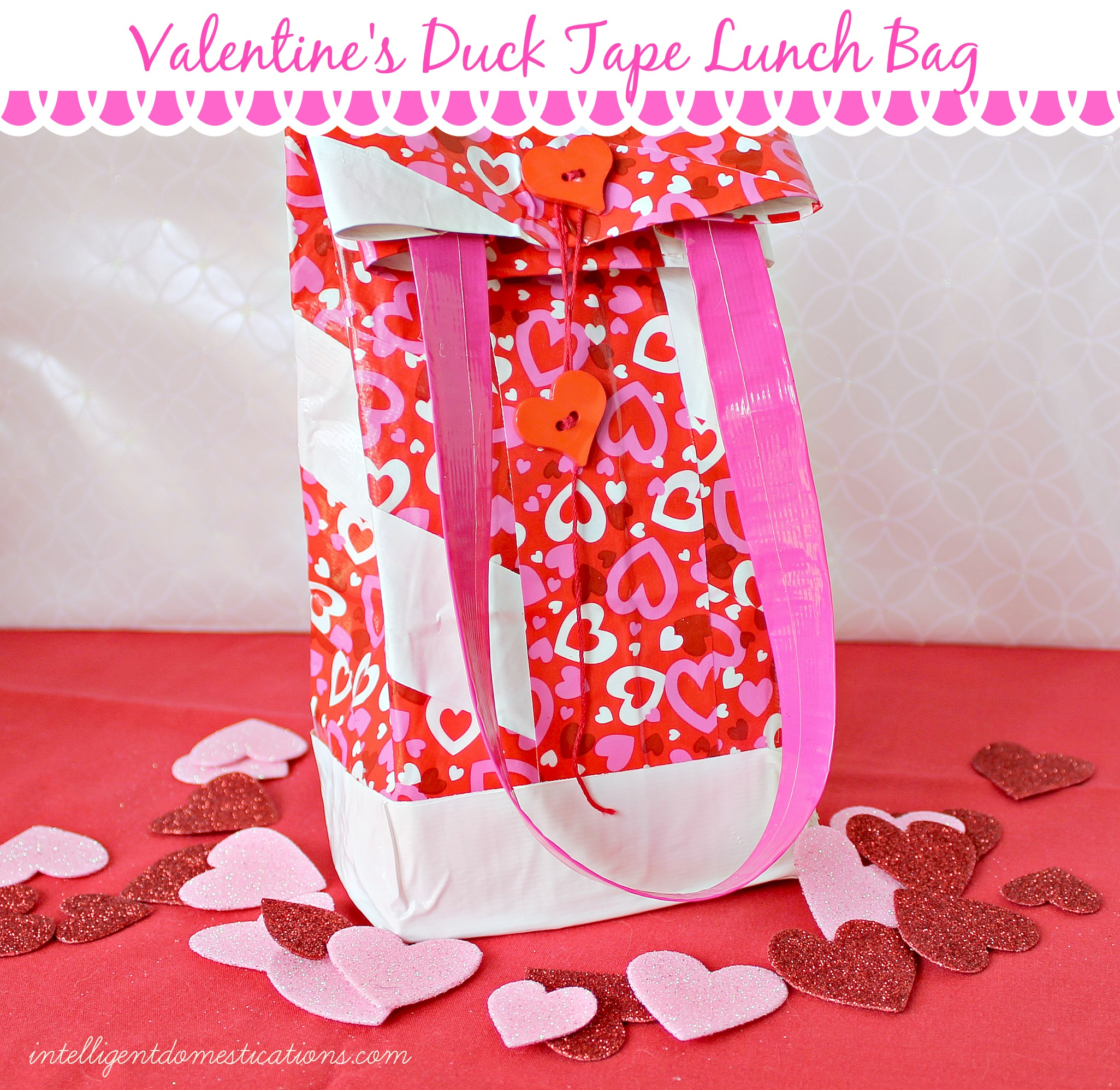 Valentine's Duck Tape Lunch Bag. back view.instructions at www.intelligentdomestications.com