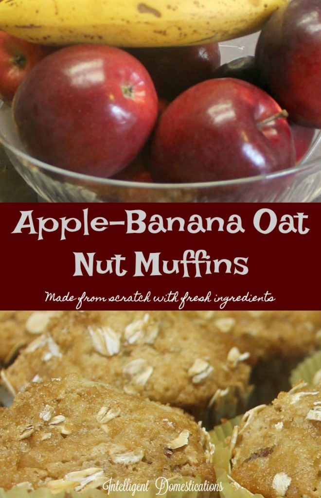 Apple Banana Oat Nut Muffin recipe. Made from scratch with fresh ingredients