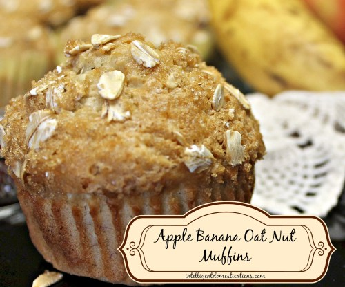 Apple Banana Oat Nut Muffins recipe #muffins #bananamuffins