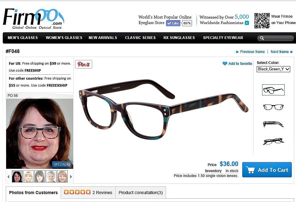 Firmoo Try on page for glasses