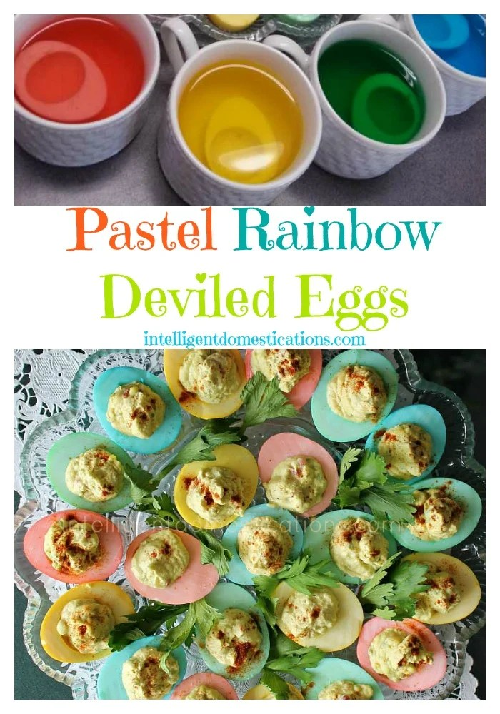 A plate full of pastel rainbow deviled eggs How to make Pastel Rainbow Deviled Eggs. Pastel Eggs for Easter. How to make pastel deviled eggs. How to make colored deviled eggs. #Easterrecipe