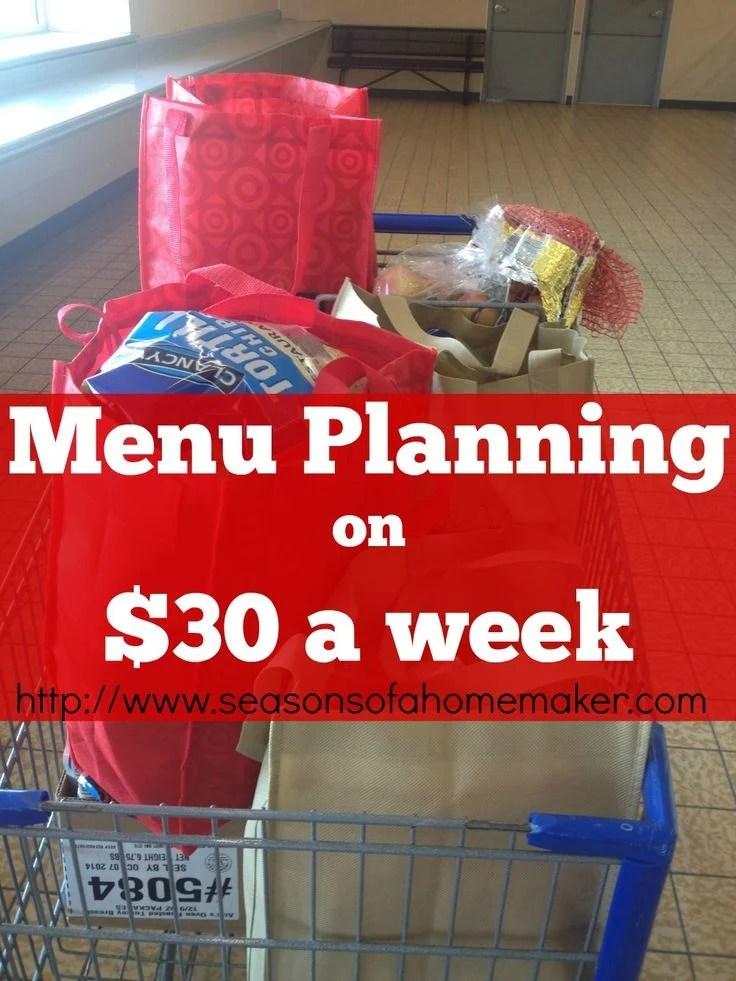 Menu Planning on $30 weekly. MM48