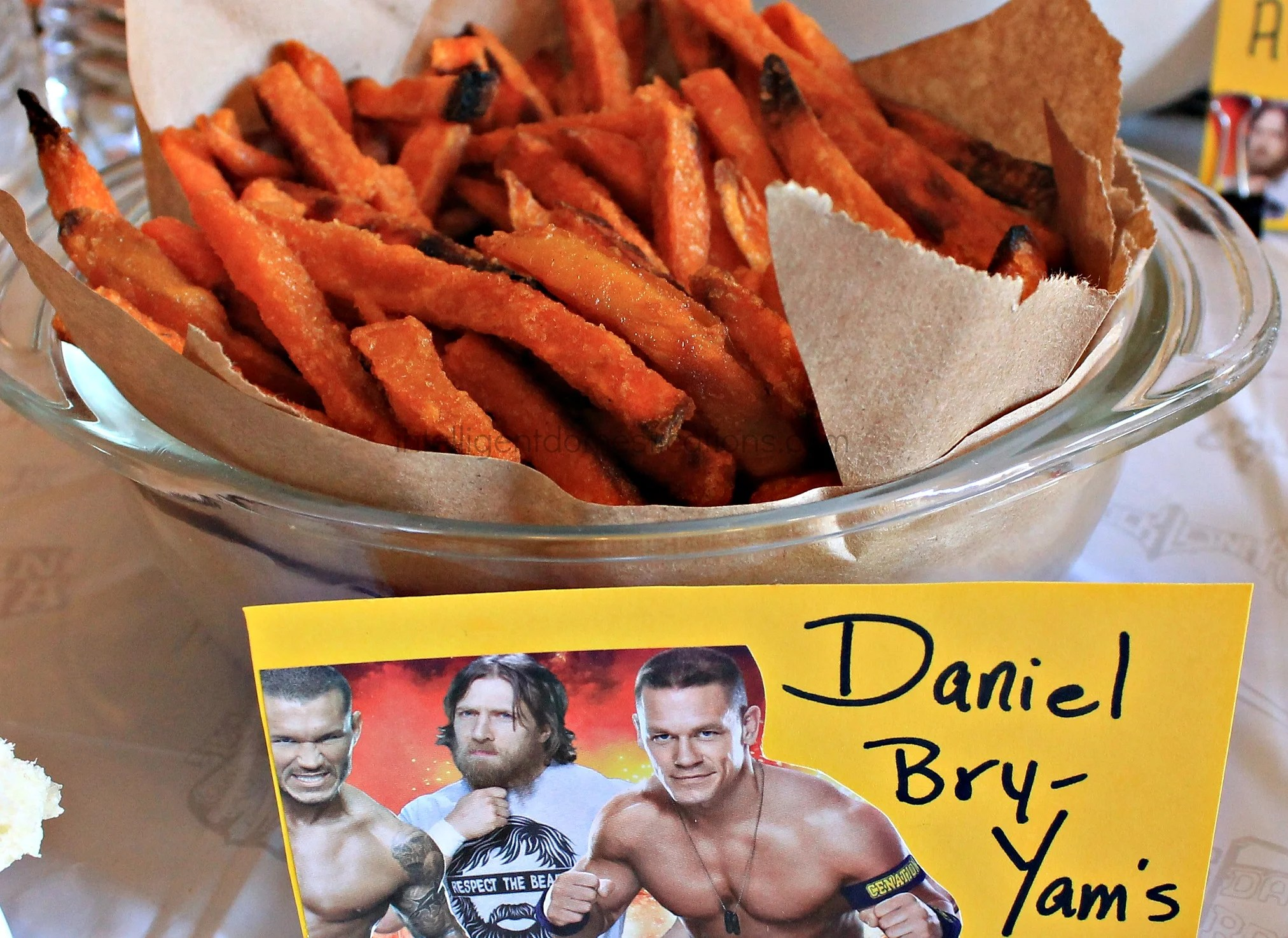 Serve your guests some Daniel Bry-Yams at your WWE Theme party. Ideas at intelligentdomestications.com