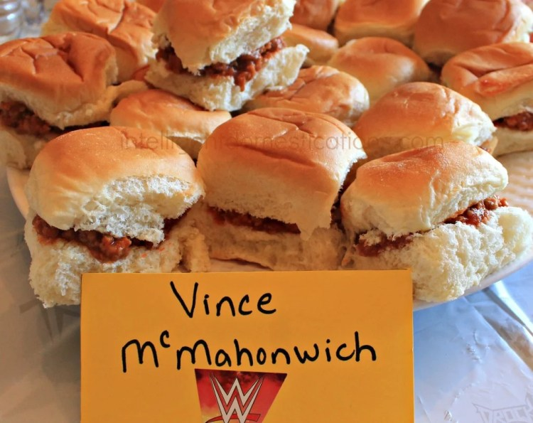 WWE Theme Party Ideas with recipes and decor. WWE Party. Serve your guests some Vince McMahonwiches at your WWE Theme party.Ideas at www.intelligentdomestications.com