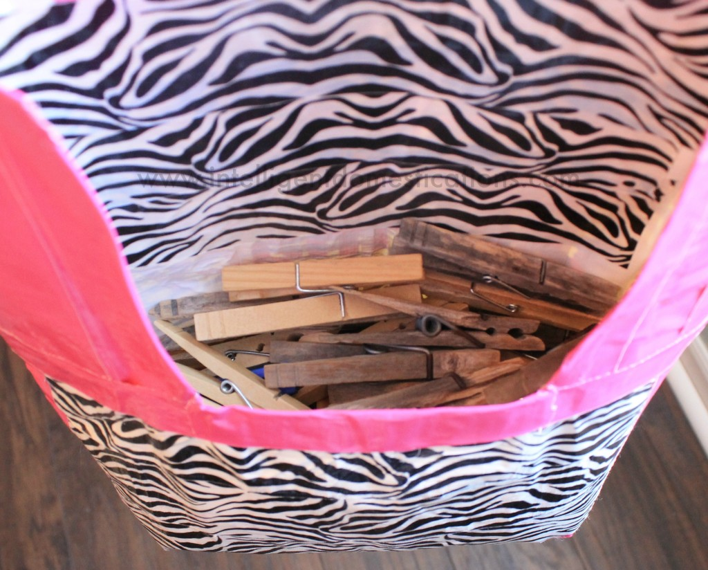 Duct Tape Clothespin Bag inside is plenty big to hold lots of clothespins.www.intelligentdomestications.com