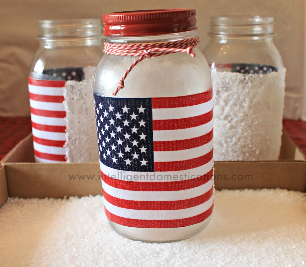 Frosted Mason Jar Patriotic  Luminaries. How to frost with epsom salts.intelligentdomestications.com
