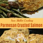 Quick and Easy Pan Seared Salmon Recipe. Italian seasoning and Parmesan cheese makes this stove top salmon recipe a delicious favorite. Ready in minutes, great entree for 30 minute meals. #salmon #fish #seafood #panseared #ironskillet