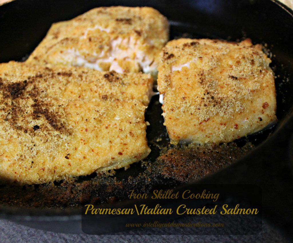 Parmesan Italian Crusted Salmon.Iron Skillet Cooking at www.intelligentdomestications.com