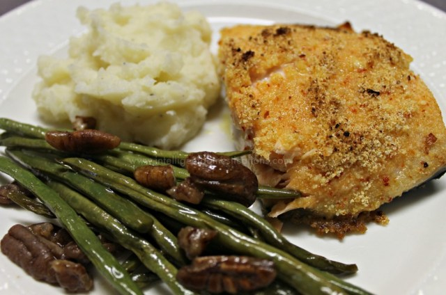 Make this Parmesan crusted Italian flavor Salmon in your Iron Skillet in minutes. If you are looking for a 30 minute meal entree, you will want to save this one. A healthy fish recipe without the bread crumbs so it's a low carb friendly recipe. #salmonrecipe #weeknightmeal #ironskilletrecipe