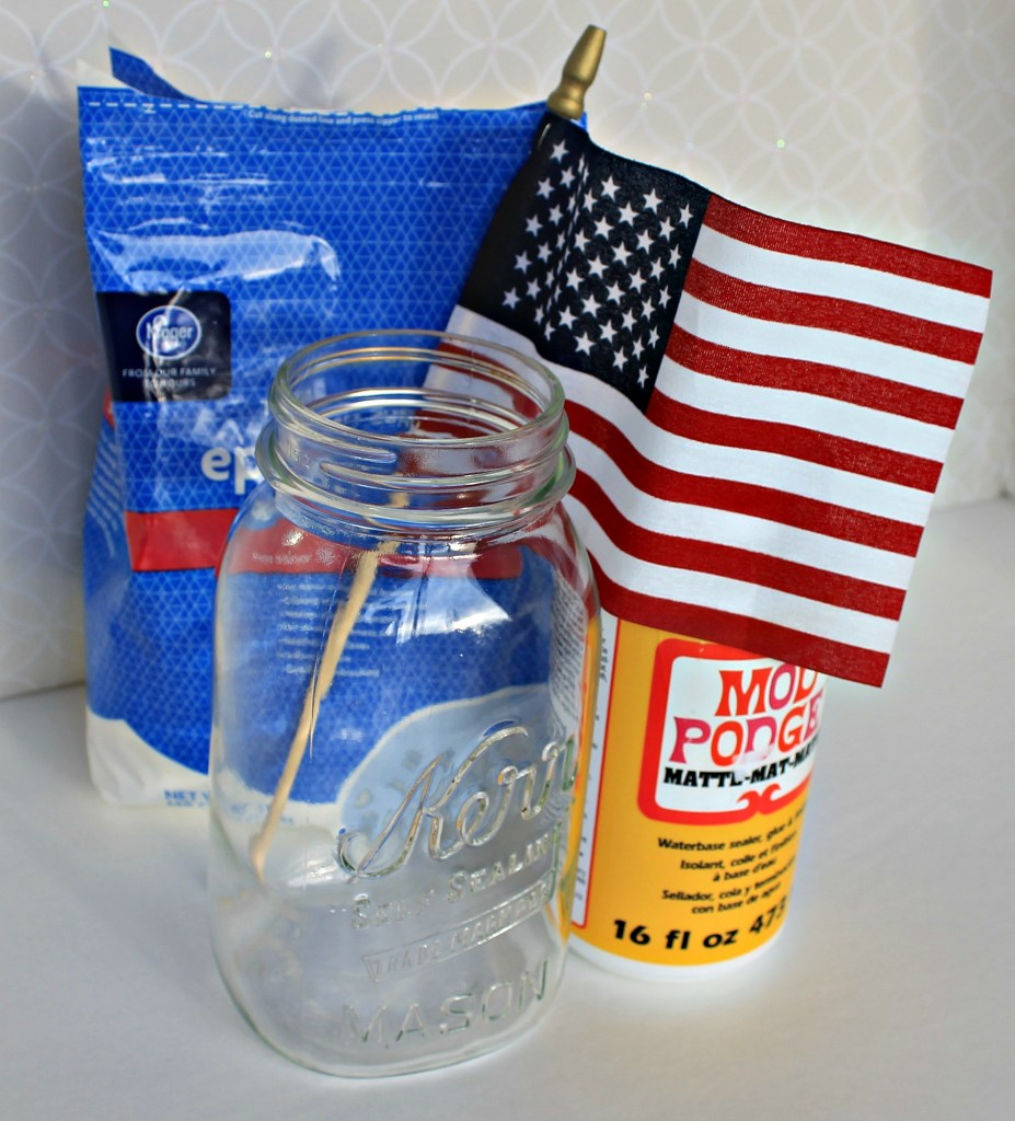 Supplies for frosted Mason jar Patriotic luminary