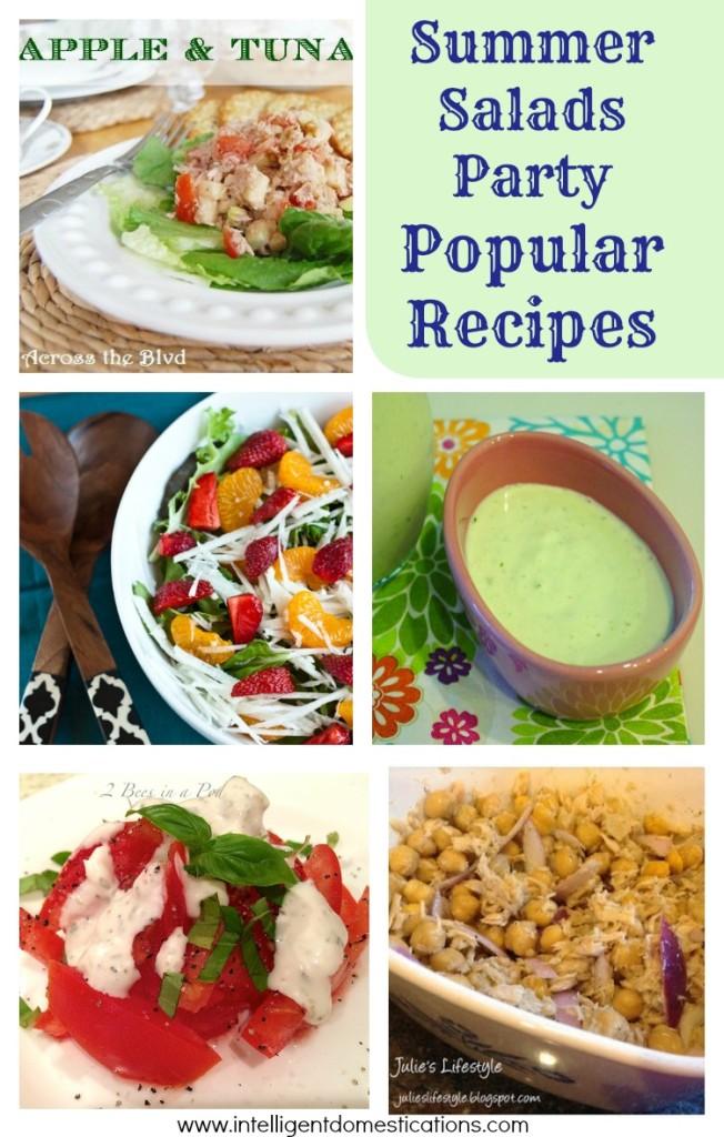 Summer Salads Party Popular Recipes shared at www.intelligentdomestications.com