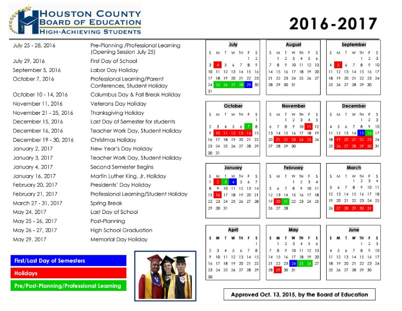 Houston County School Calendar 2016-2017