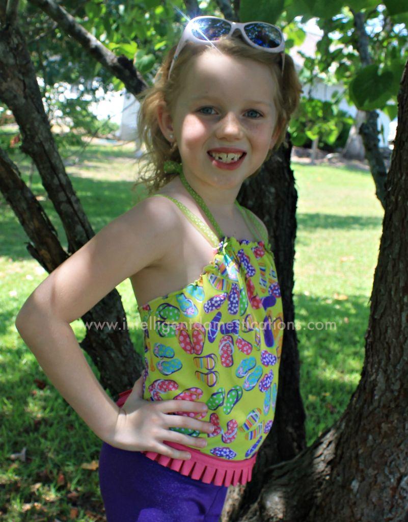 Sew a simple Little Girls Bandana top with ribbon straps.www.intelligentdomestications.com