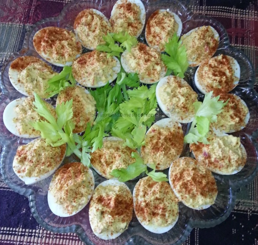 deviled eggs with paprika on top
